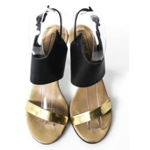 Veronique Branquinho Gold BLK Leather Cuff Sandals